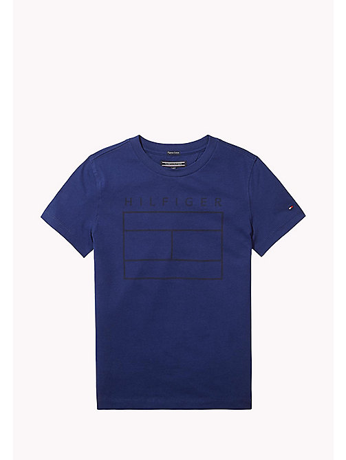TOMMY HILFIGER Iconic Flag Print T-Shirt - BLUE DEPTHS - TOMMY HILFIGER T-shirts & Polos - main image
