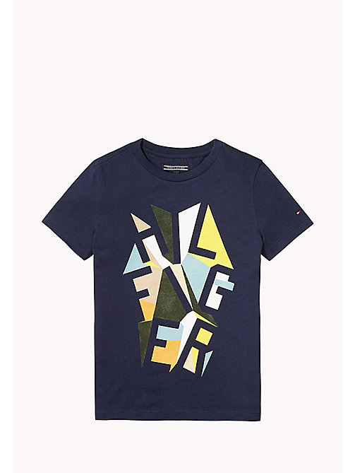 TOMMY HILFIGER Graphic Print Cotton T-Shirt - BLACK IRIS - TOMMY HILFIGER T-shirts & Polos - main image