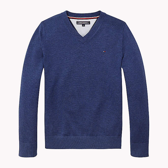 TOMMY HILFIGER Essential V-Neck Jumper - CAMEO BLUE HTR - TOMMY HILFIGER Kids - main image