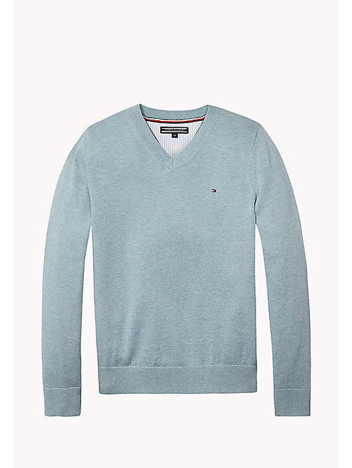 TOMMY HILFIGER Essential V-Neck Jumper - CAMEO BLUE HTR - TOMMY HILFIGER Jumpers & Cardigans - main image