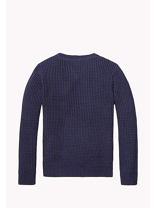 TOMMY HILFIGER Textured Cotton Jumper - BLACK IRIS - TOMMY HILFIGER Jumpers & Cardigans - detail image 1