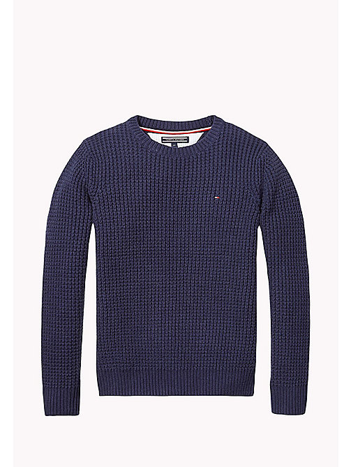 TOMMY HILFIGER Textured Cotton Jumper - BLACK IRIS - TOMMY HILFIGER Jumpers & Cardigans - main image