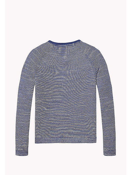 TOMMY HILFIGER Cotton Henley Jumper - BLUE DEPTHS/MARSHMALLOW - TOMMY HILFIGER Jumpers & Cardigans - detail image 1