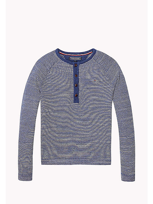 TOMMY HILFIGER Cotton Henley Jumper - BLUE DEPTHS/MARSHMALLOW - TOMMY HILFIGER Jumpers & Cardigans - main image