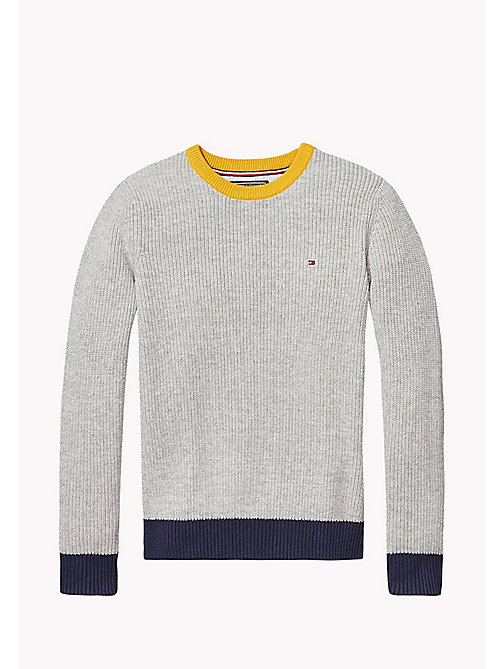 TOMMY HILFIGER Colourblock Jumper - LIGHT GREY HTR - TOMMY HILFIGER Jumpers & Cardigans - main image