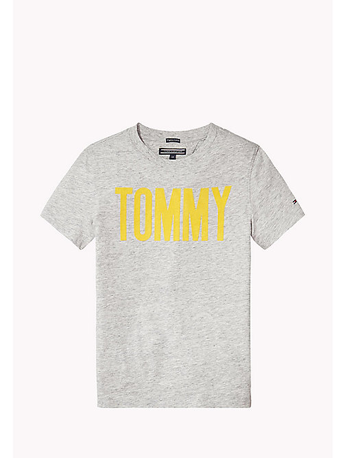 TOMMY HILFIGER Organic Cotton Crew Neck T-Shirt - NEW GREY HEATHER B1NAC04 VOL. 46 - TOMMY HILFIGER T-shirts & Polos - main image