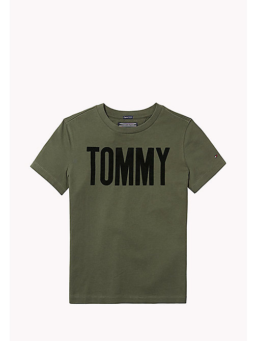 TOMMY HILFIGER AME FLOCK TOMMY CN TEE S/S - THYME -  Oberteile - main image