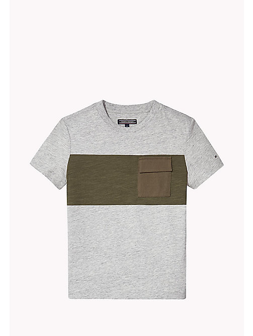 TOMMY HILFIGER Rundhals-T-Shirt mit Tasche - NEW GREY HEATHER B1NAC04 VOL. 46? - TOMMY HILFIGER T-shirts & Poloshirts - main image