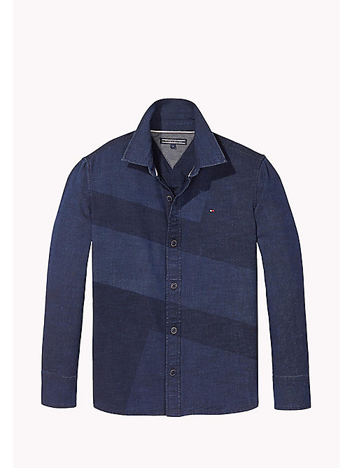 TOMMY HILFIGER Striped Cotton Shirt - MID INDIGO / MULTI - TOMMY HILFIGER Boys - main image