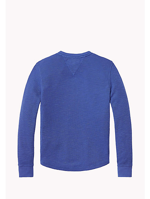 TOMMY HILFIGER Long Sleeved Textured Henley - BLUE DEPTHS - TOMMY HILFIGER T-shirts & Polos - detail image 1