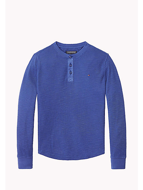 TOMMY HILFIGER Long Sleeved Textured Henley - BLUE DEPTHS - TOMMY HILFIGER T-shirts & Polos - main image