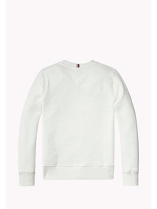 TOMMY HILFIGER D PAINTED SLUB CREW NECK - BRIGHT WHITE - TOMMY HILFIGER NIEUW - detail image 1
