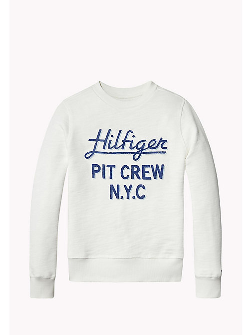 TOMMY HILFIGER D PAINTED SLUB CREW NECK - BRIGHT WHITE - TOMMY HILFIGER NEW IN - main image
