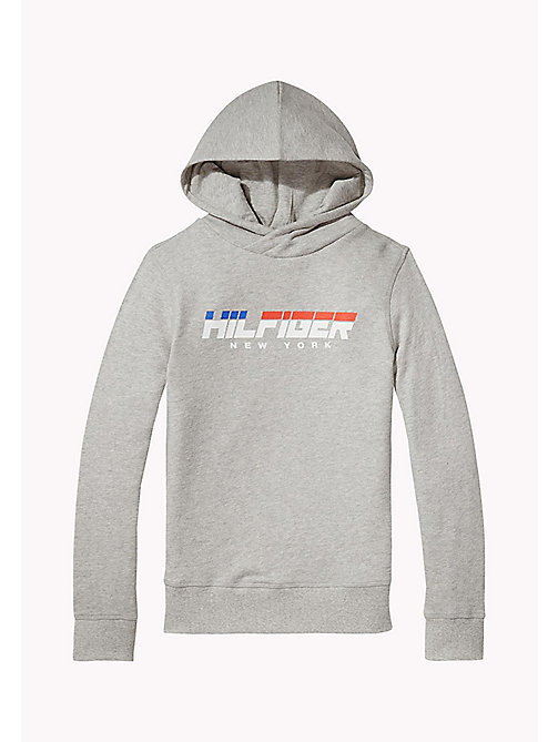 TOMMY HILFIGER Logo Print Hoodie - LIGHT GREY HTR - TOMMY HILFIGER Boys - main image