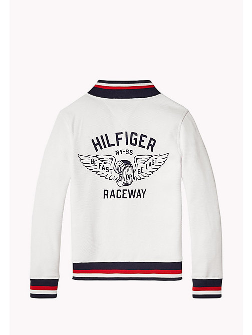TOMMY HILFIGER Signature Stripe Varsity Jacket - BRIGHT WHITE - TOMMY HILFIGER Jumpers & Cardigans - detail image 1