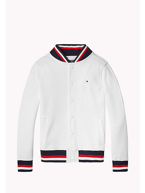 TOMMY HILFIGER Signature Stripe Varsity Jacket - BRIGHT WHITE - TOMMY HILFIGER Jumpers & Cardigans - main image