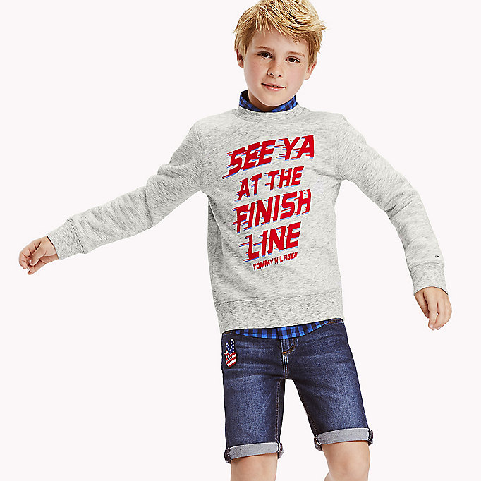 TOMMY HILFIGER Racing Print Jumper - FLAME SCARLETT HEATHER - TOMMY HILFIGER Kids - main image