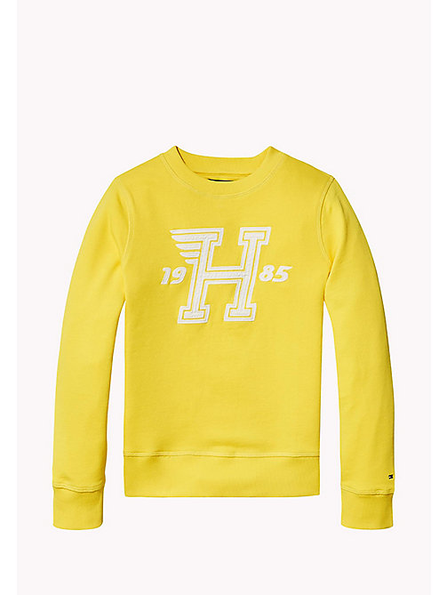 TOMMY HILFIGER Logo Appliqué Print Sweatshirt - EMPIRE YELLOW - TOMMY HILFIGER Sweatshirts & Hoodies - detail image 1