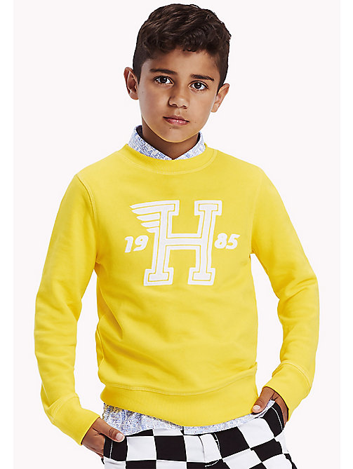 TOMMY HILFIGER Logo Appliqué Print Sweatshirt - EMPIRE YELLOW - TOMMY HILFIGER Sweatshirts & Hoodies - main image