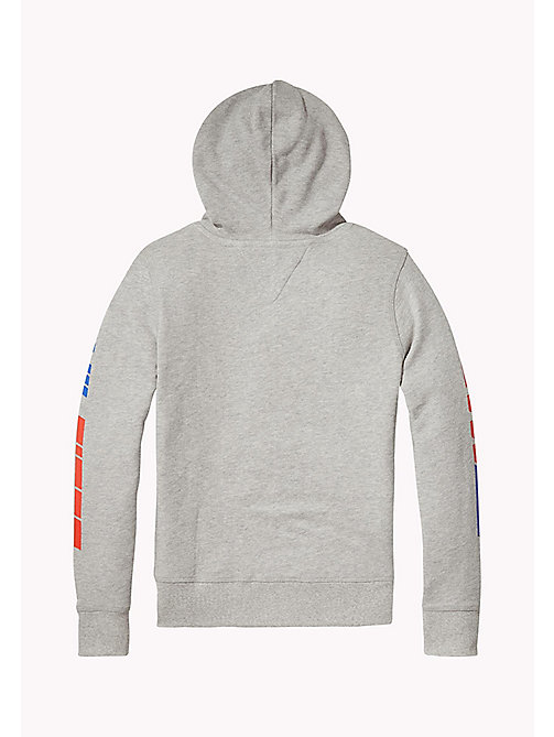 TOMMY HILFIGER Zip Thru Logo Hoodie - LIGHT GREY HTR - TOMMY HILFIGER Sweatshirts & Hoodies - detail image 1