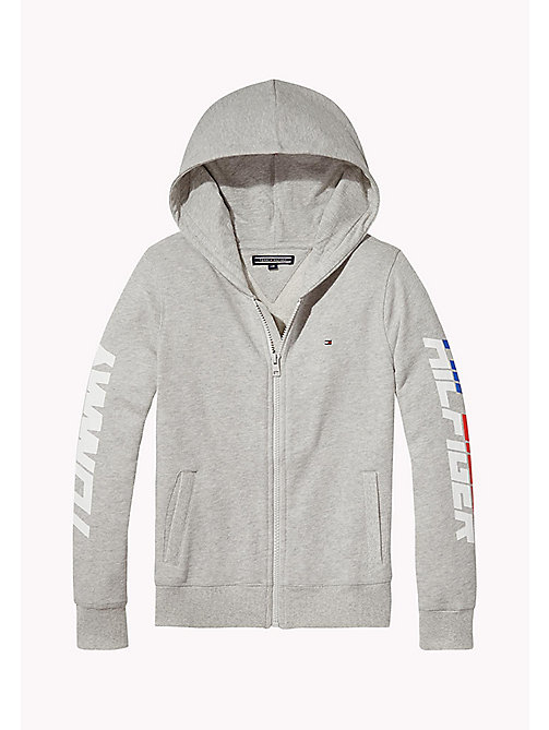 TOMMY HILFIGER Zip Thru Logo Hoodie - LIGHT GREY HTR -  Sweatshirts & Hoodies - main image