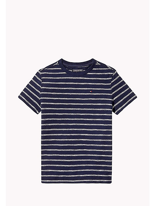 TOMMY HILFIGER Crew Neck Stripe T-Shirt - INDIGO BLUE - TOMMY HILFIGER Boys - main image