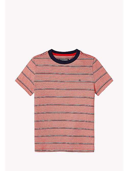 TOMMY HILFIGER Signature Stripe T-Shirt - FLAME SCARLET - TOMMY HILFIGER T-shirts & Polos - main image