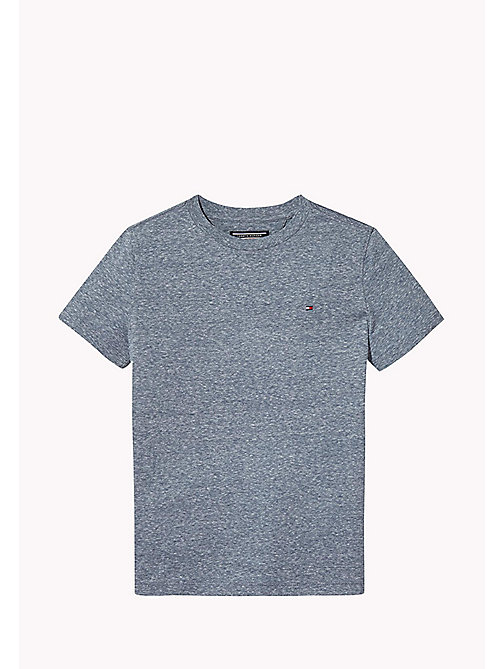 TOMMY HILFIGER Heathered Crew Neck T-Shirt - BLACK IRIS - TOMMY HILFIGER Boys - main image
