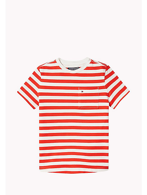 Stripe Regular Fit T-Shirt - FLAME SCARLET - TOMMY HILFIGER Boys - main image