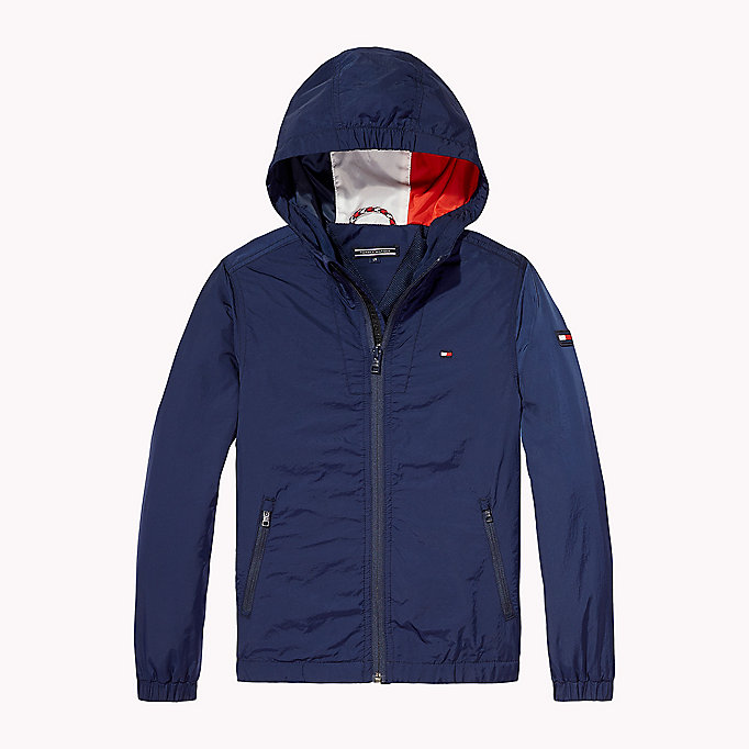 TOMMY HILFIGER Hooded Windbreaker - FLAME SCARLET - TOMMY HILFIGER Kids - detail image 1