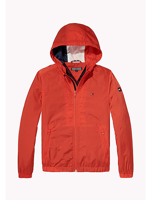 TOMMY HILFIGER Hooded Windbreaker - FLAME SCARLET - TOMMY HILFIGER Coats & Jackets - main image