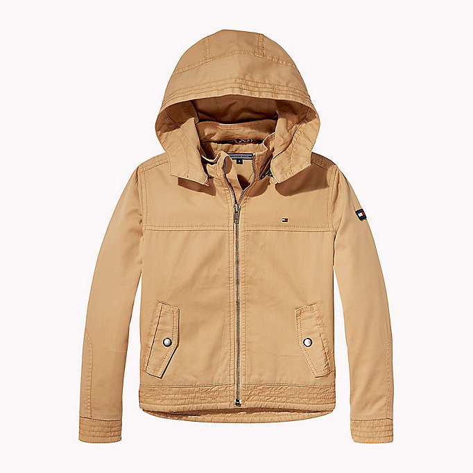 TOMMY HILFIGER Cotton Twill Hooded Jacket - STRATOSPHERE - TOMMY HILFIGER Kids - main image