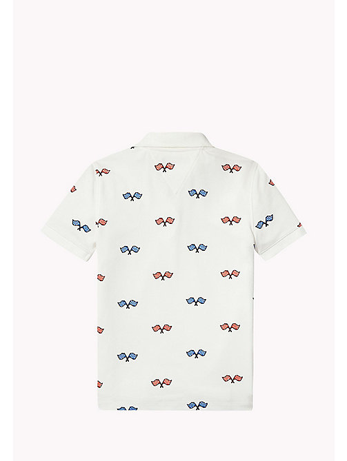 TOMMY HILFIGER Flag Logo Polo Shirt - BRIGHT WHITE - TOMMY HILFIGER T-shirts & Polos - detail image 1