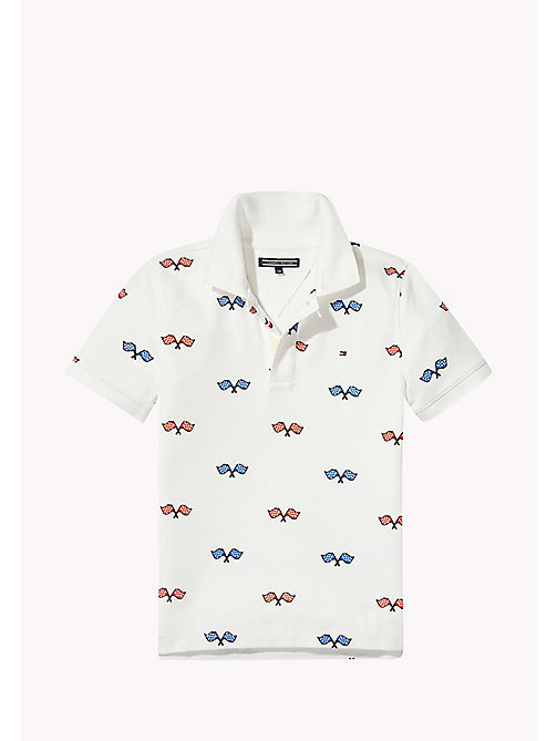 TOMMY HILFIGER Flag Logo Polo Shirt - BRIGHT WHITE - TOMMY HILFIGER T-shirts & Polos - main image