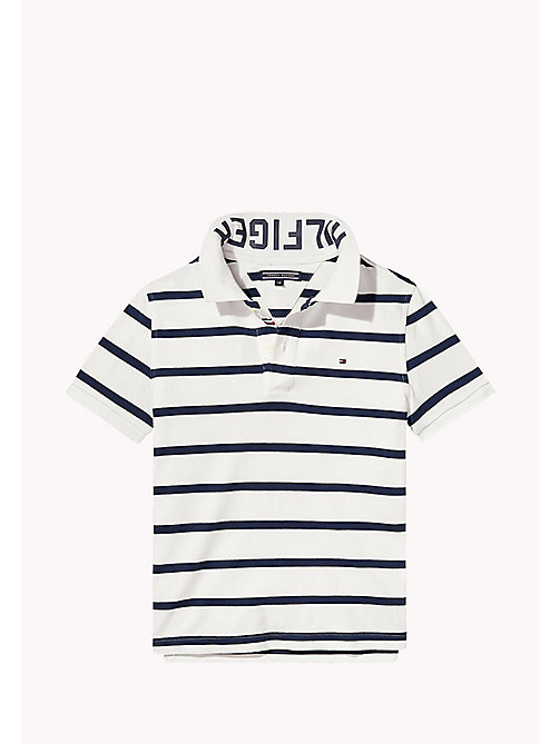 TOMMY HILFIGER Logo Stripe Polo - BRIGHT WHITE - TOMMY HILFIGER Boys - main image
