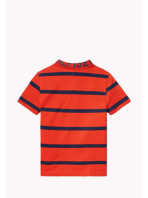 TOMMY HILFIGER Logo Stripe Polo - FLAME SCARLET - TOMMY HILFIGER T-shirts & Polos - detail image 1