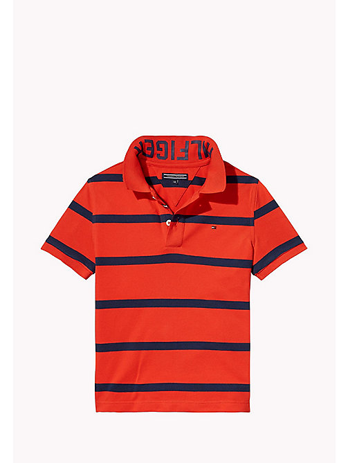 TOMMY HILFIGER Logo Stripe Polo - FLAME SCARLET - TOMMY HILFIGER T-shirts & Polos - main image