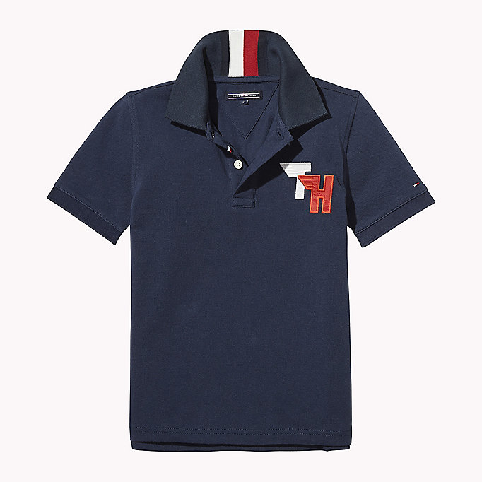 TOMMY HILFIGER Signature Stripe Polo Shirt - BRIGHT WHITE - TOMMY HILFIGER Enfants - image principale