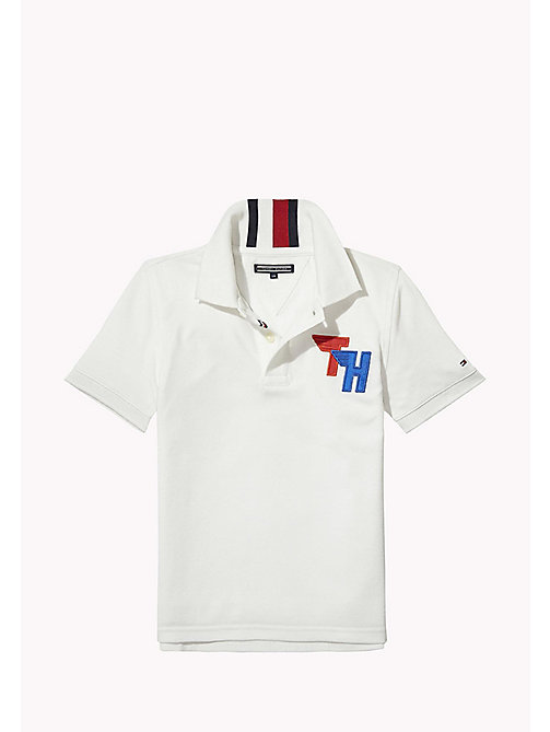 TOMMY HILFIGER Signature Stripe Polo Shirt - BRIGHT WHITE - TOMMY HILFIGER Boys - main image