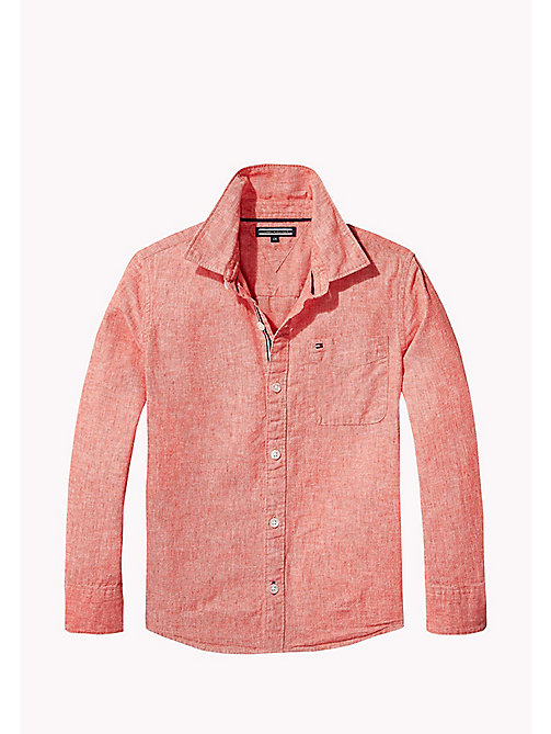 TOMMY HILFIGER Cotton Linen Shirt - CAYENNE - TOMMY HILFIGER Boys - main image