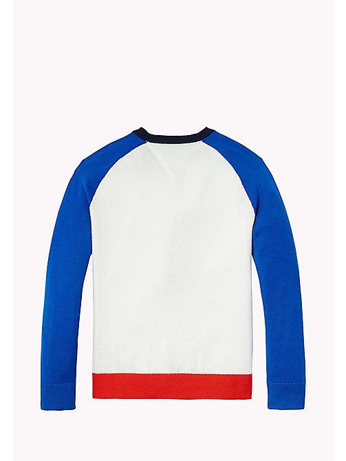 TOMMY HILFIGER Colour-Blocked Crew Neck Jumper - BRIGHT WHITE - TOMMY HILFIGER Jumpers & Cardigans - detail image 1