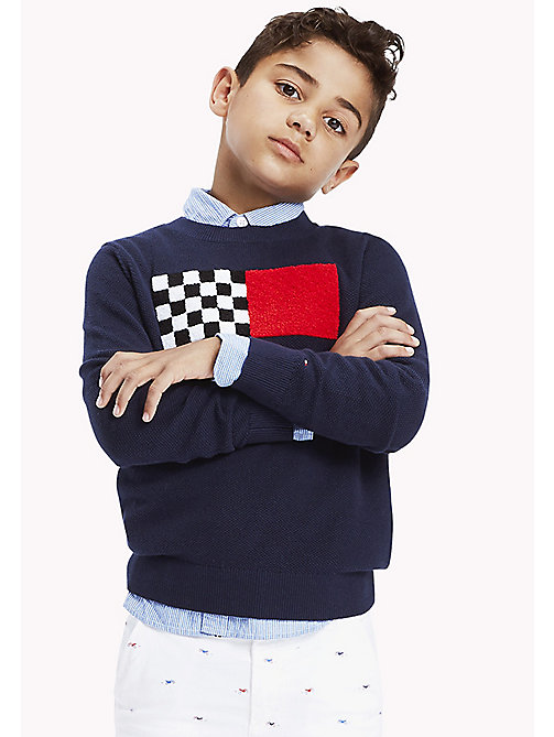 Racing Patch Jumper - BLACK IRIS - TOMMY HILFIGER Boys - main image