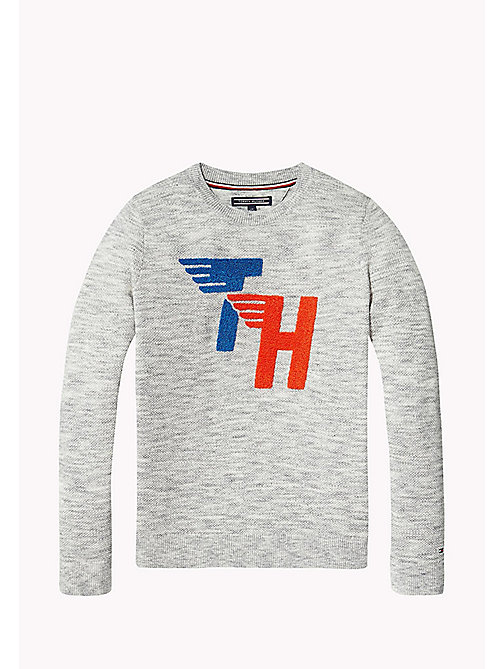 TOMMY HILFIGER Pullover con toppa in stile racing - MODERN GREY HEATHER - TOMMY HILFIGER Maglieria - immagine principale