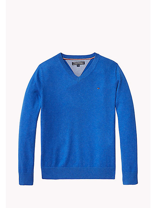 TOMMY HILFIGER Pullover mit V-Ausschnitt - NAUTICAL BLUE HEATHER - TOMMY HILFIGER Pullover & Strickjacken - main image