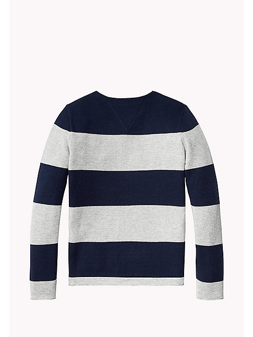 TOMMY HILFIGER Block Stripe Crew Neck Jumper - BLACK IRIS - TOMMY HILFIGER Jumpers & Cardigans - detail image 1