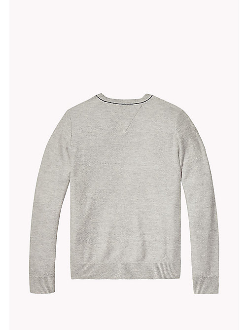 Cotton Crew Neck Jumper - LIGHT GREY HTR - TOMMY HILFIGER Boys - detail image 1