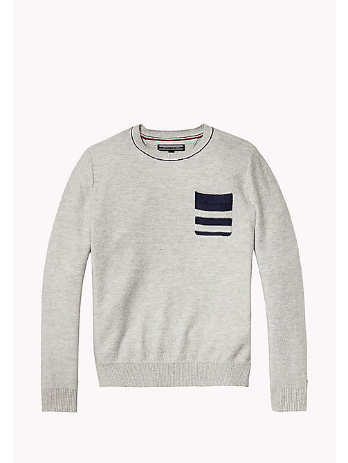 Cotton Crew Neck Jumper - LIGHT GREY HTR - TOMMY HILFIGER Boys - main image