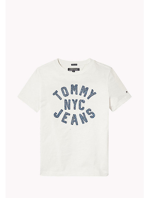 TOMMY HILFIGER Textured Tommy Jeans Logo T-Shirt - BRIGHT WHITE - TOMMY HILFIGER T-shirts & Polos - main image