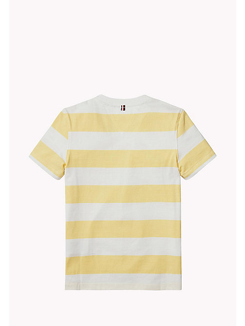 TOMMY HILFIGER Stripe Logo Print T-Shirt - CUSTARD - TOMMY HILFIGER T-shirts & Polos - detail image 1