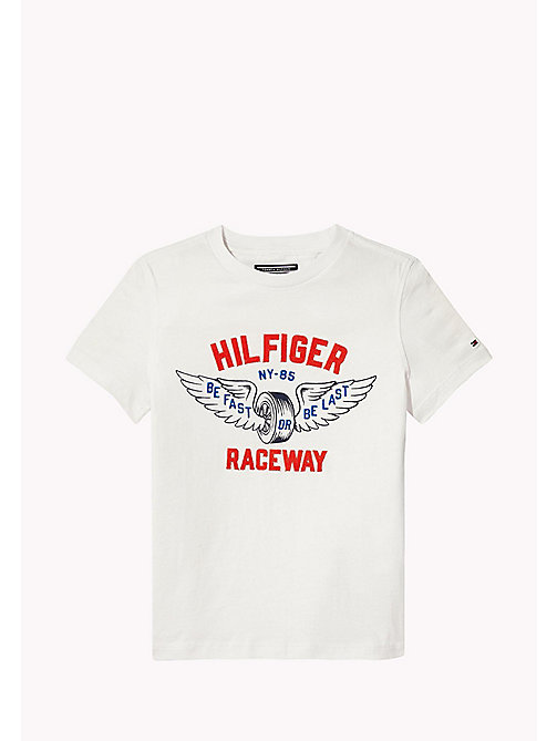 TOMMY HILFIGER T-shirt racer con logo applicato - BRIGHT WHITE - TOMMY HILFIGER T-shirts & Polo - immagine principale